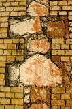 Interesting architecture wall of bricks cross sign Stock Photography