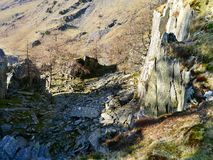 Interesting area on Castle Crag, Lake District Stock Image
