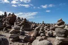 Interesting art view with stones in tenerife stock images