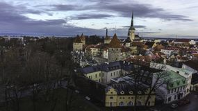 Tallin, seperated, city, clouds over city, city. Interesting border between old town and city, at Tallin, Baltic states, Estonia stock photography