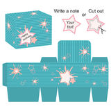 Interesting box template with stars and splash Royalty Free Stock Image