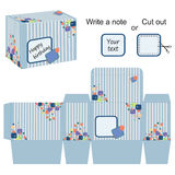Interesting box template with stripes and colorful bubbles Royalty Free Stock Image