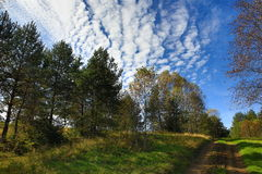 Interesting clouds, autumn scenery in the Sumava Mountains, Stodulky, Czech Republic Royalty Free Stock Photo