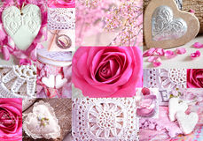 Interesting collage with knitted elements, flower arrangements, hearts and roses. Stock Photos