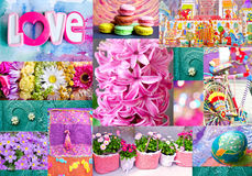 Interesting colorful collage with flowers, easter egg, toy city and toys, bicycle, macaroons, forged ornament. Stock Images