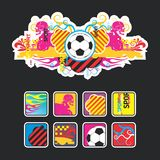Interesting Composition With The Ball And Icons Royalty Free Stock Photos