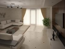 Interesting design of the living room. Stock Images