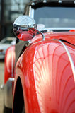 Interesting design of old car with original headlight and bumper Royalty Free Stock Photo
