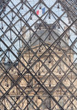 Interesting detail of Louvre Museum Pyramid Royalty Free Stock Images