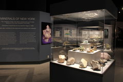 Interesting display featuring some of New York's rminerals,State Museum,Albany New York,2015 Stock Image