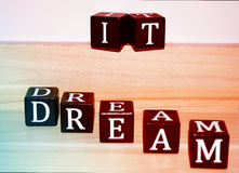 Interesting dream it note with colors Royalty Free Stock Photo