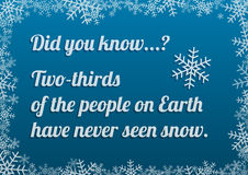 Interesting fact about snow on blue background with snow frame Stock Photo