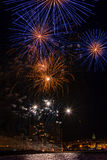 Interesting fireworks over the small town in Spain, Palamos Royalty Free Stock Photos