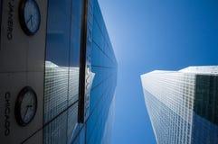 Interesting Framing – Looking up between Skyscrapers in Manhattan Stock Photo