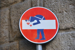 Interesting and funny street sign in Florence Stock Image