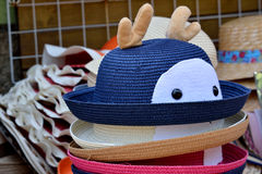 Interesting hats for young people. Various of hat in different color and interesting decoration, shown as difference or colorful dress and clothing Stock Photo
