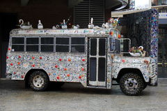 Interesting image of bus, decorated in artist`s vision of whimsy, American Visionary Art Museum, Baltimore, Maryland, 2017. Fun and interesting image of large royalty free stock photography