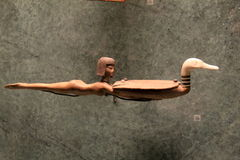 Interesting item in Extensive Egyptian exhibit, The Louvre, Paris, France, 2016. Interesting sculpture of woman and bird, seen in extensive Egyptian exhibit, The Stock Image