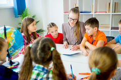 Interesting lesson at school Royalty Free Stock Photos
