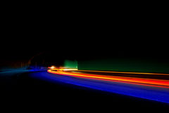 Interesting lights in red, blue, orange and green stock photography
