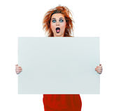Interesting looking teen girl with blank board Stock Photos