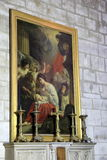 Interesting masterpiece paintings hanging on walls, seen in one of many exhibits, The Louvre, Paris, France, 2016 Stock Image