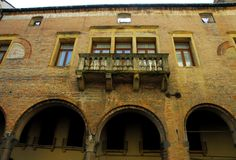 Interesting medieval building in Padova in Veneto (Italy). Photo made in the center of Padua in Veneto (Italy). The picture shows part of the façade made from stock photo