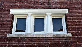 Old Window architecture in Town of Concord, Middlesex County, Massachusetts, United States. Architecture. Interesting old triple window complete with white stock images