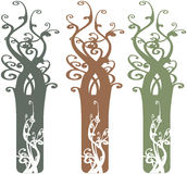 Interesting Ornate Tree Design Elements Illustrati. On Vector Royalty Free Stock Photos