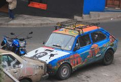 Interesting painted car in Valparaiso Stock Photo