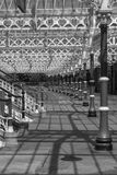 Interesting patterns of structures and their shadows at Tynemouth. Station in black and white royalty free stock photo