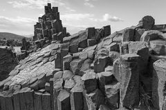 Plogygonal structures of basalt columns Royalty Free Stock Images