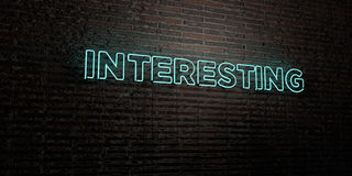 INTERESTING -Realistic Neon Sign on Brick Wall background - 3D rendered royalty free stock image Stock Photo