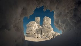 Interesting rock formation in winter stock image