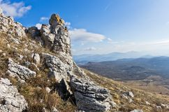Interesting rock formations near the top of a mountain Rtanj Stock Image