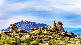 Interesting Rock Formations viewed from the Tom`s Thumb Trail in the rugged mountains of the McDowell Mountain Range. Around Phoenix, Arizona stock image