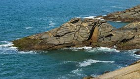 Interesting rock looks like animal face. Stones that look like animals, crocodile or alligator. The rock looks like a crocodile or alligator. Rio de Janeiro stock image