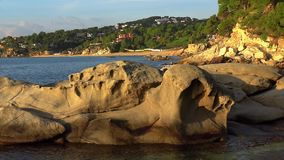 Interesting rock shape in coastal of Spain, Costa Brava, near the small town Palamos stock video footage