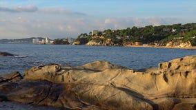 Interesting rock shape in coastal of Spain, Costa Brava, near the small town Palamos stock footage