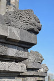 Interesting Sculpture at the edge of a temple at Prambanan Temple Compounds Royalty Free Stock Images