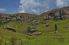Interesting sedimentary rock in Giants Castle KwaZulu-Natal nature reserve Stock Photos