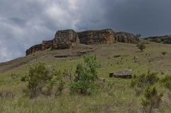 Interesting sedimentary rock in Giants Castle Stock Photo