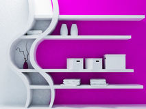 Interesting shelf in interior. Rendering Royalty Free Stock Images