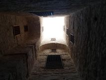 View of the sky from inside The Citadel of Qaitbay, Alexandria, Egypt. Interesting shot of the sky taken from inside the historical Citadel of Qaitbay in Stock Image