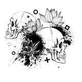 Interesting skull  with flowers. Painted, bright and attractive. Royalty Free Stock Photo