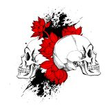 Interesting skull vector with flowers. Stock Photo