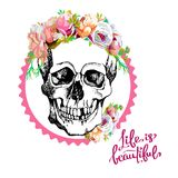 Interesting skull vector with flowers. Stock Image