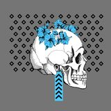 Interesting skull vector with flowers. Royalty Free Stock Image