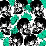 Interesting skull vector with flowers. Painted Royalty Free Stock Images