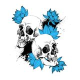 Interesting skull vector with flowers. Painted, bright Royalty Free Stock Photos